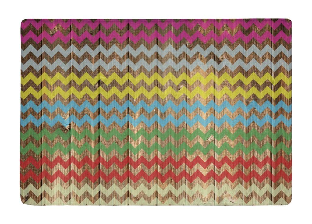 Floor Mat Vintage Wood Colorful Chevron Stripes Print Non slip Rugs Carpets alfombra For font b