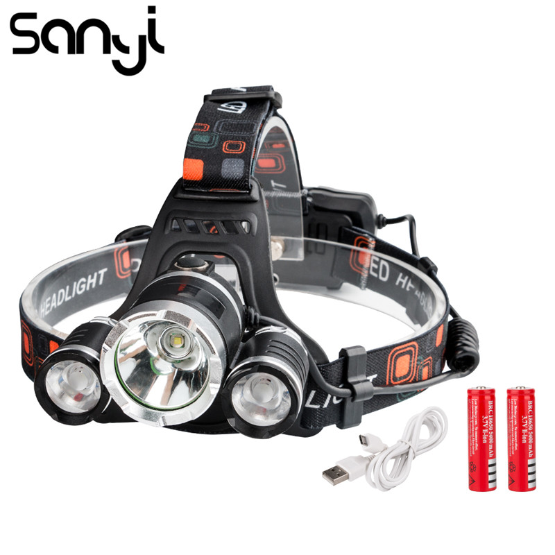 SANYI 1*T6+2*R2 LED Headlamp 4 Modes USB Rechargeable Headlight Helmet Torch Head Flashlight For Camping Running Hiking