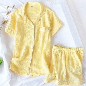 Image 3 - Women Pajamas Summer 100% Cotton Crepe Short sleeved Shorts Pyjamas Thin Solid Plus Size  Sleepwear Loungewear Hoem Clothes
