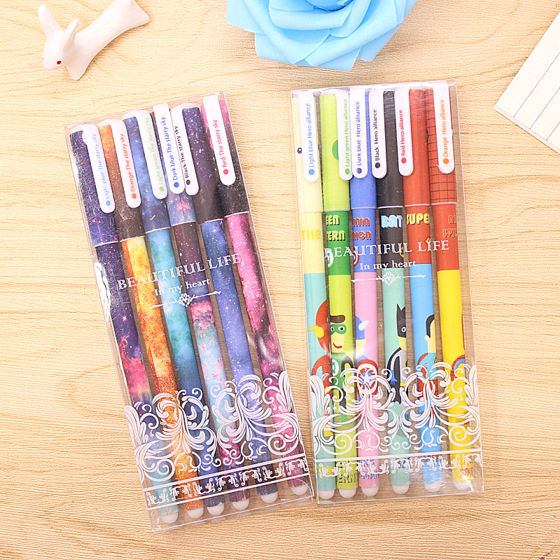 new 6 Pcs / Set  0.38mm Color Gel Pen Starry Pattern Cute Kitty Hero Roller Ball Pens Stationery Office School Supplies 6 pcs set color gel pen starry pattern cute kitty hero roller ball pens stationery office school supplies