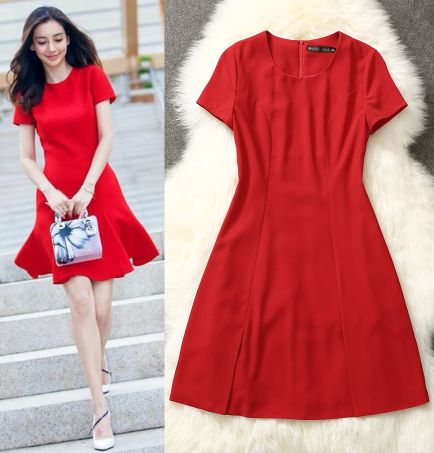 Fashion Women A Line Dress Short Sleeves Red Casual Dresses L5162 ...