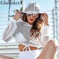 Glamaker Mesh Transparent Blouses Shirts Women Hoodie Lace Up White Blouse Shirt Female Long Sleeve Crop