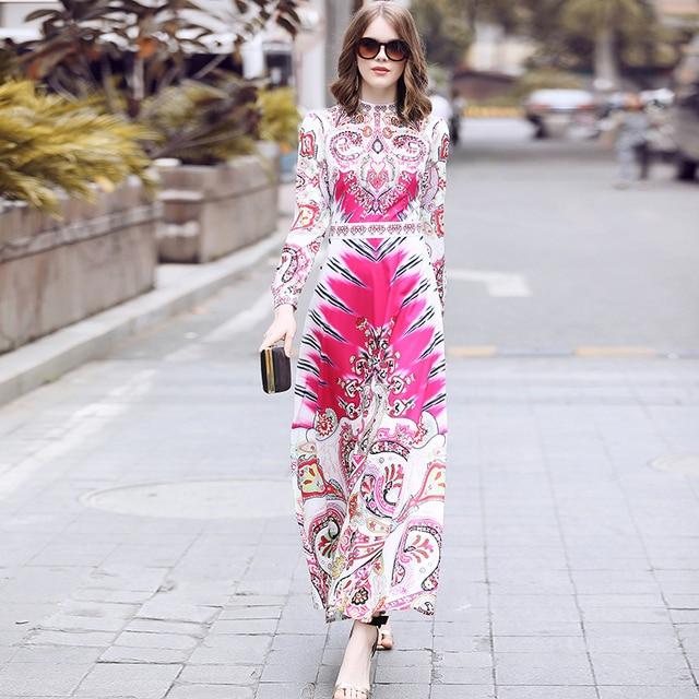 Truevoker Spring Designer Maxi Dress Women s Elegant Long Sleeve Ethnic  Printed Beading Resort Holiday Long Dress 9d0a1355c5bb