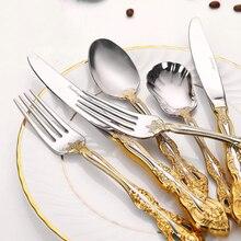 Spoon-Set Cutlery-Set Western Tableware Fork Steak-Knife Gold-Plating-Kit Stainless-Steel