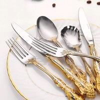 Luxury Vintage Cutlery Set Gold Steak Knife and Fork Spoon Set Stainless Steel Western Gold Plating Kit Tableware Household F6K