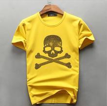 Top Quality men's t-shirts Diamonds skull cotton O-neck short sleeve fashion brand designer tshirt for men 2017 summer tee dm805