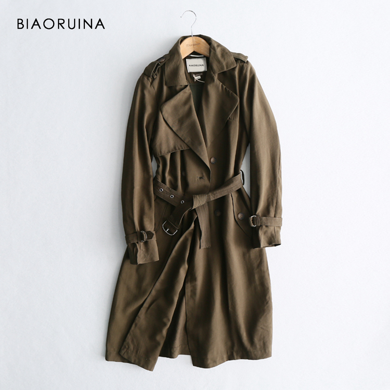 BIAORUINA Women Classic Solid Long Trench Coat Female Doube Breasted Trench Sashes England Style Turn-down Collar Outerwear(China)