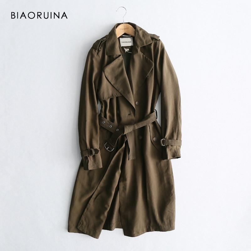 BIAORUINA женский классический однотонный Длинный плащ женский двубортный плащ свободного покроя с лентой в английском стиле верхняя одежда с отложным воротником