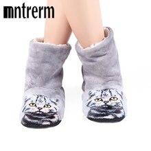 Mntrerm/Брендовые женские милые тапочки с 3D принтом кота, пляжные толстые теплые зимние тапочки, zapatos mujer, домашние плюшевые тапочки на плоской подошве