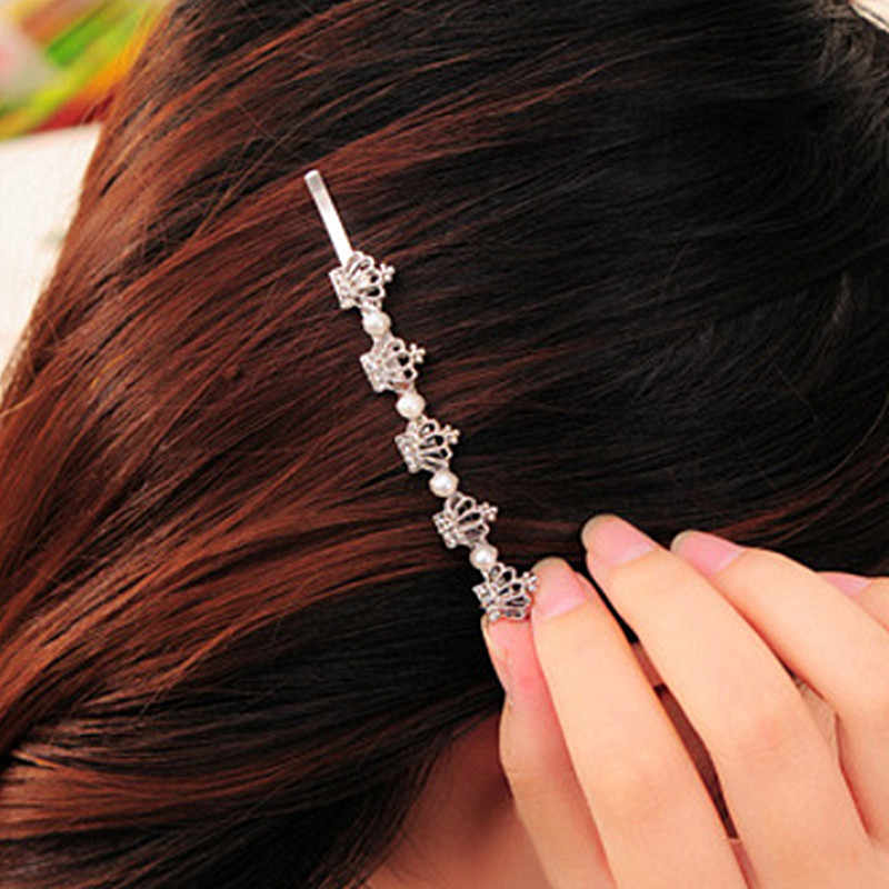 F011 Head Jewelry Hair Pin Crystal Crown Shears Clip For Hair Tiara Barrettes Accessories Simulated Pearls Headdress Girl Women