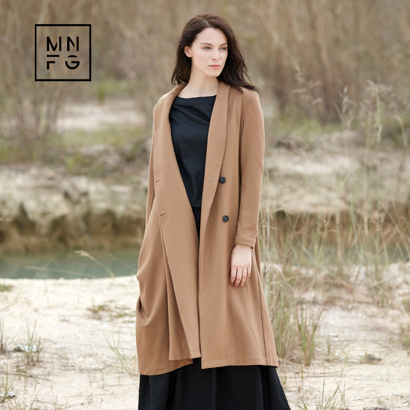 MNFG by Amii Wool long-sleeved lapel woolen jacket A irregular wrinkled loose woolen cloth