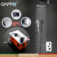 GAPPO Wall Mounted brass Shower faucet Chrome LCD Digital Temperature Mixer Taps Rainfall Faucet Set shower head