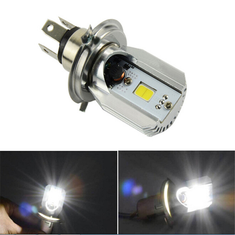 1x H4 12W COB LED Motorcycle DC 12V Motorbike Headlight Bright Motor Bike Fog Lamp Bulb Light Moped Scooter ATV H4 High Low Beam