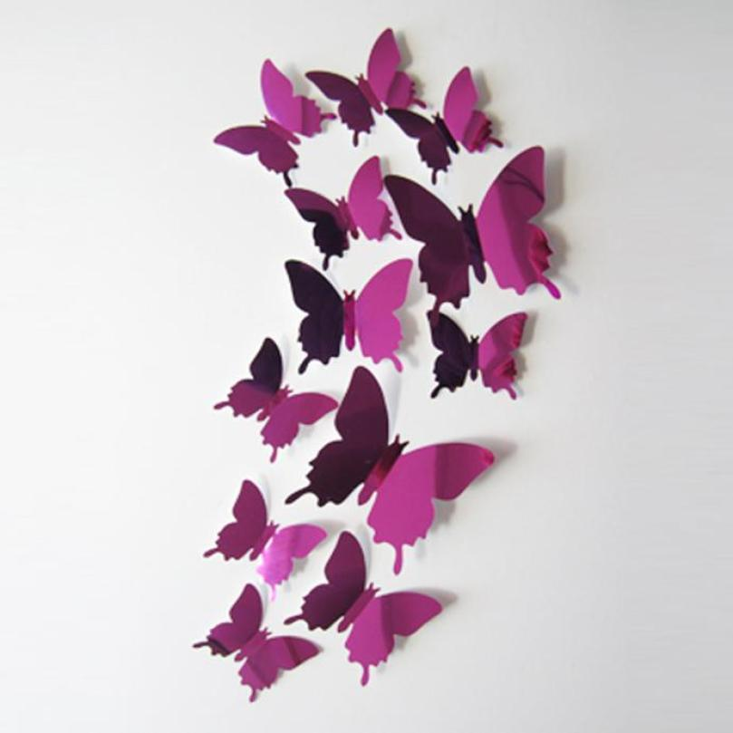 US $0.68 8% OFF|2018 Wall Stickers Decal Butterflies 3D Mirror Wall Art  Home s Hot Pink Living Room Bedroom Beautiful Wallpaper-in Wall Stickers  from ...