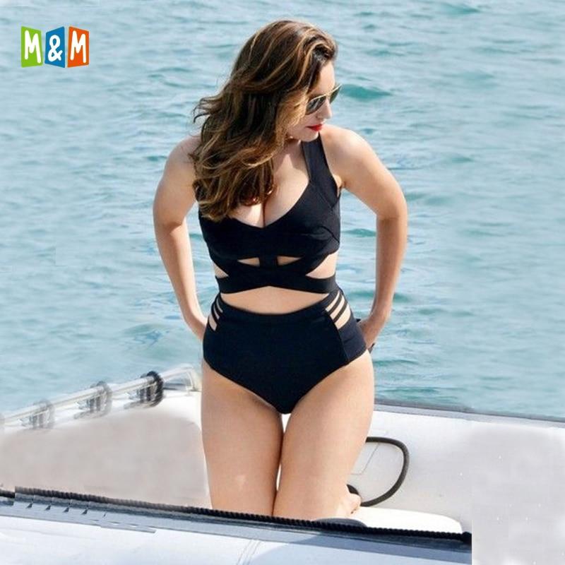 Push-Up Swimwear Bikini-Set Black Strappy Sexy High-Waisted Plus-Size Women M--M Padding