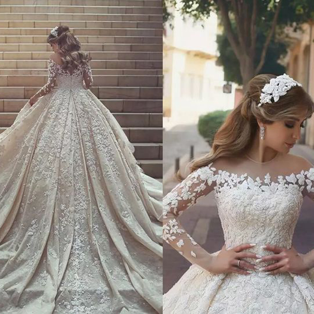Ball Gown Wedding Dresses Lace Appliques Beading Pearls Long Sleeve 2019 Puffy Bridal Dresses Vintage