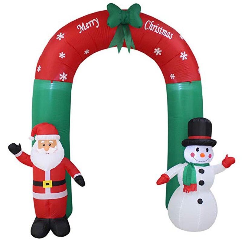 240 cm géant père noël bonhomme de neige gonflable arche de jardin cour Archway lumière LED avec pompe de noël Halloween accessoires fête exploser