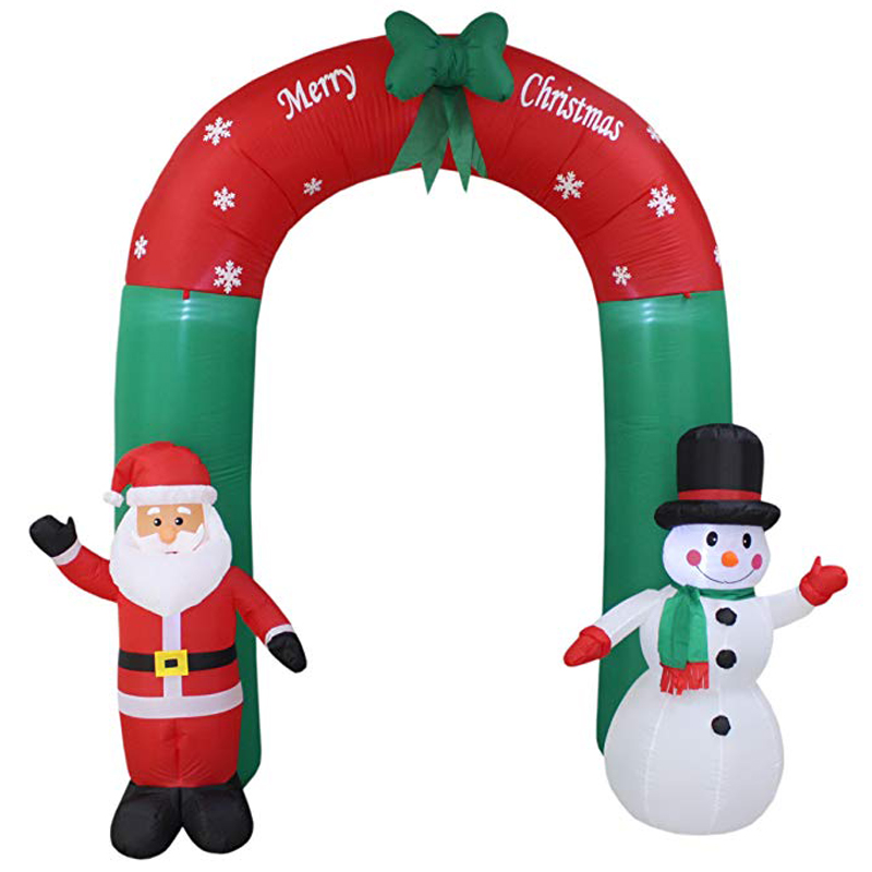 240cm Giant Santa Claus Snowman Inflatable Arch Garden Yard Archway LED Light with Pump Christmas Halloween Props Party Blow Up air shipping christmas archway airblown animated inflatable gingerbread house with led lights for yard decoration
