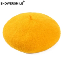SHOWERSMILE Women Warm Berets Yellow Woolen French Berets Hats Ladies Adjustable Soft Caps Artistic Elegant Winter Painters Hat
