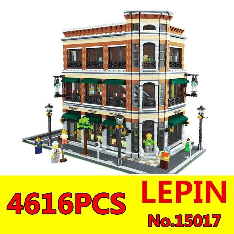 Starbucks Bookstore Cafe Model Building Kit Blocks LEPIN 15017 4616Pcs City Street Creator Bricks Compatible Toy