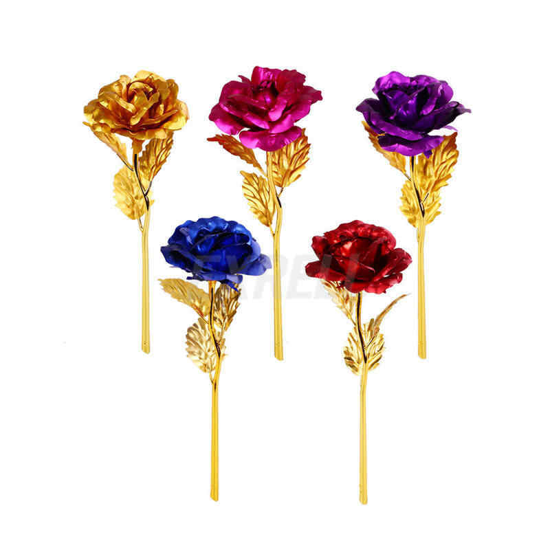 24K Gold Plated Rose Flower Valentine's Day Gift Birthday Romantic Golden Rose Home Decor Festive Party Supplies