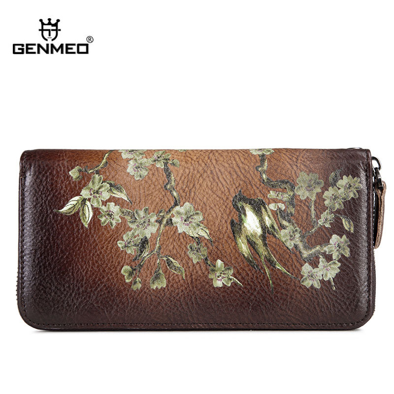 GENMEO New Genuine Leather 3D Swallow Pattern Wallet Women Cowhide Clutch Bag Vintage Red Female Coin Purse Bolsa Feminina in Wallets from Luggage Bags