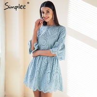 Simplee Cotton Lace Embroidery Mini Dress Women Button Ruffle Sleeve Causal White Dress Spring Hollow Out