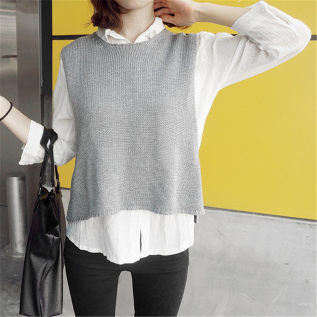 Online Shop 2015 Autumn Grey Sweater Vest For Women Lady Fashion ...