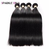 Sparkle Diva Brazilian Hair Bundles Straight Human Hair Bundles Natural Color Non Remy Human Hair Extensions