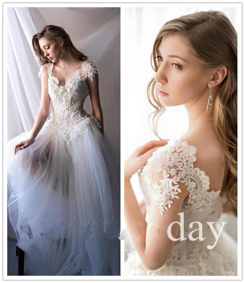 mzyj09 2017 new vintage whiteivory boho lace bridal gown modest tulle unique beach wedding dress vestido de noiva custom size