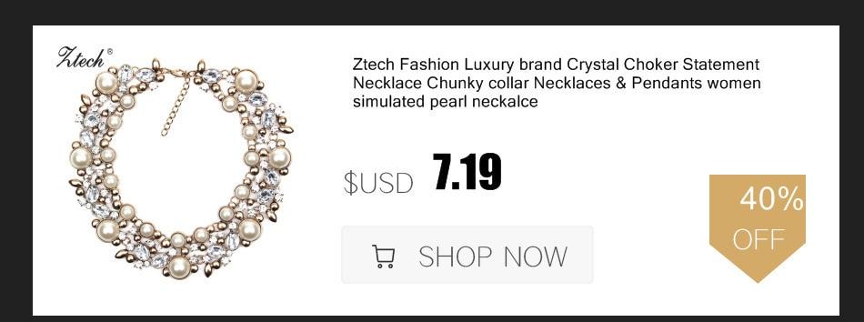 5d2df53d4fb Ztech 럭셔리 새로운 크리스탈 꽃 목걸이 체인 초커 문 목걸이 & 펜던트 모조 다이아몬드 턱받이 칼라 패션 보석