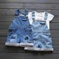 2-8yrs Девушки Комбинезоны Брюки 2016 Летний Ребенок Denim Blue цветочные комбинезоны для детей короткие габаритные брюки для девочек и мальчиков