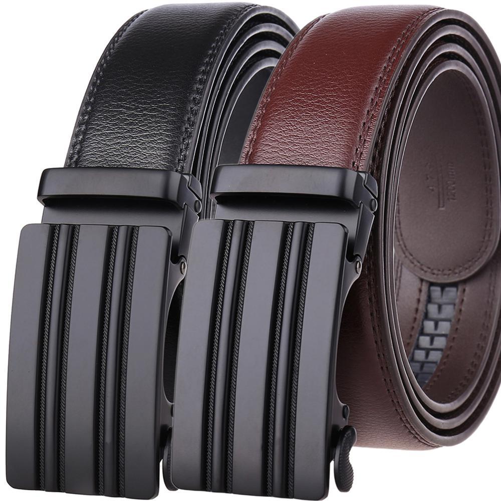 Men Belt 2019 Cowhide Genuine Leather Belts For Men Luxury Automatic Buckle Belts Brown Black Cinturones Hombre