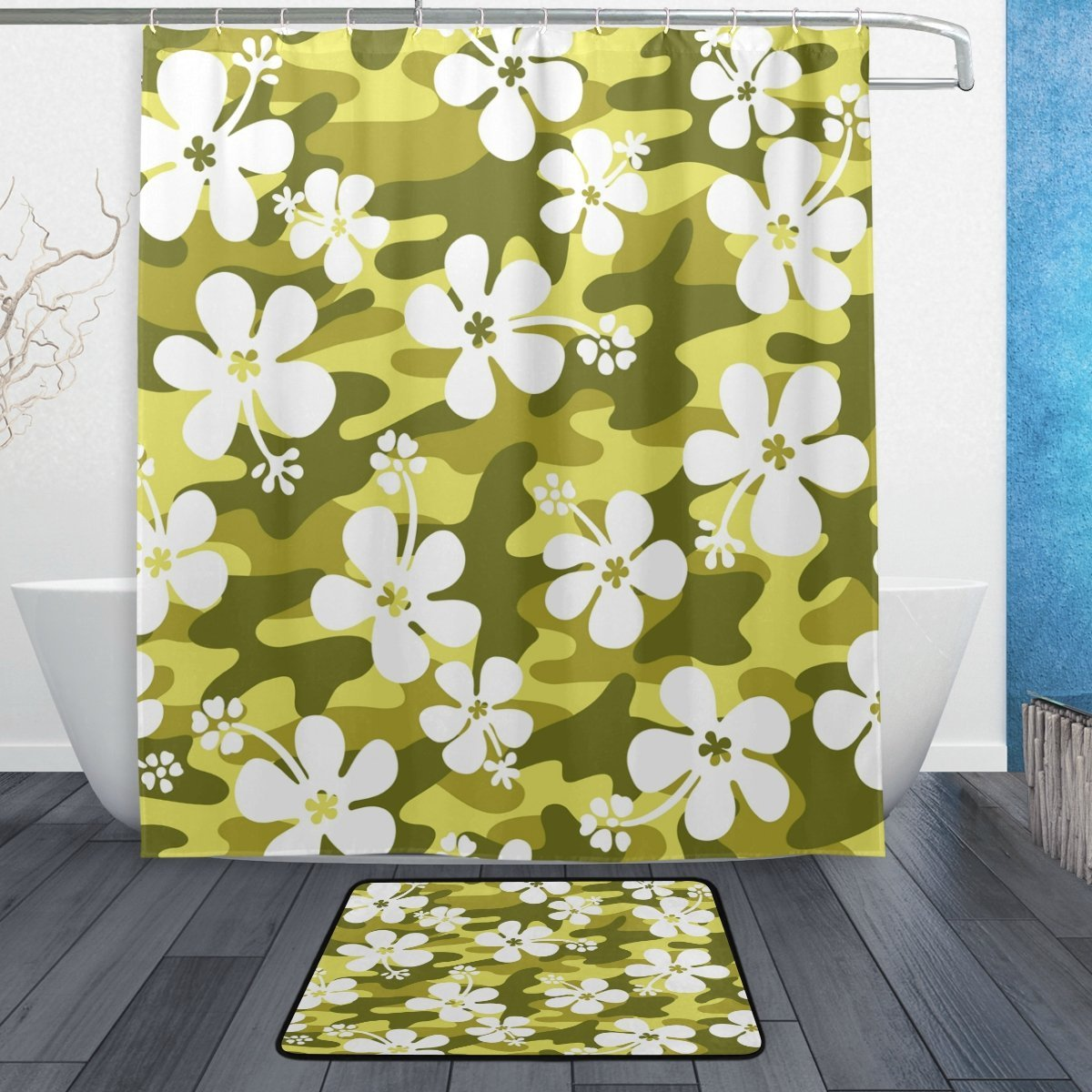Hibiscus Flower Camouflage Green Waterproof Polyester Fabric Shower Curtain with Hooks Doormat Bath Floor Mat Bathroom Home