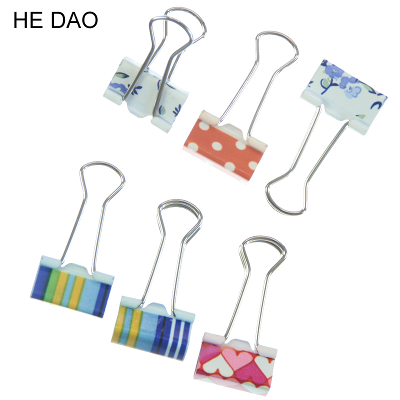 6pcs Small Size 38mm Printed Metal Binder Clips Paper Clip Clamp Office School Binding Supplies Color Random