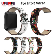 Bracelet Flower Strap Watch Band Leather peony Print bracelet for Fitbit Versa Replacement Accessories Wristbands Straps