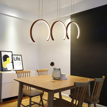 RC White or Brown Finish C shape modern led Pendant Lights for living room dining kitchen deco hanging Lamp
