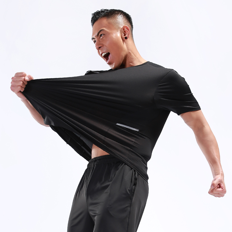 Men Workout T Shirts Quick Dry Short Sleeve Outdoor Training 2018 Sportswear Tee Breathable Mesh Running Bodybuilding Shirt Man