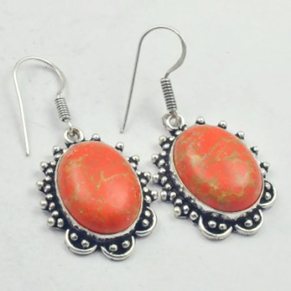 Copper Turquois Earrings Silver Overlay over Copper USA Size 47mm E3586 in Drop Earrings from Jewelry Accessories