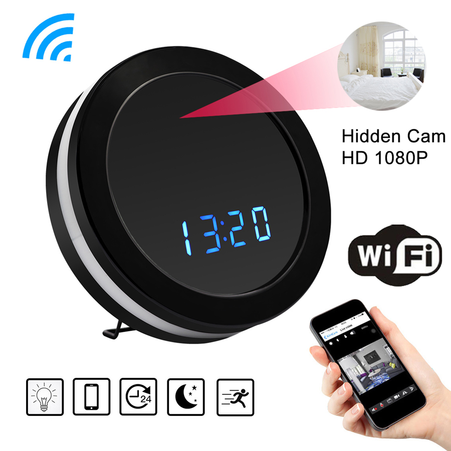 WiFi Night Vision Small Micro Secret Video Table Clock With Mini Camera Cam Wifi Motion Sensor HD 1080p Camcorder IP Online DVR