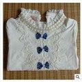 2014 Autumn New Girls Tshirt Long sleeve 100% Cotton Lace  Bottoming Shirts Kids Girl Flower Tops T shirt Basic Sweater White