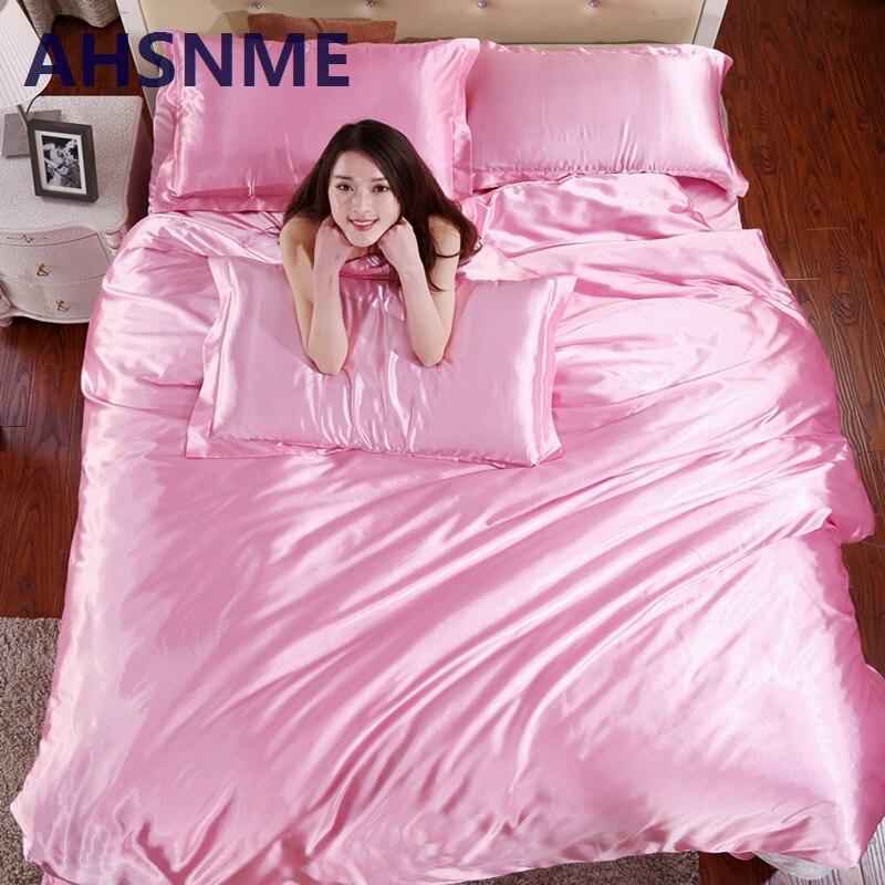 AHSNME D'été Pour 4 pcs Rouge Rose Gris Blanc Bleu Café 100% Soie Literie literie Set Draps Roi Reine Complet