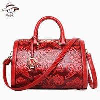 2018 Vintage Fashion Flower Embossed Women Handbag Chinese Style Boston Shoulder Bags Female Luxury Messenger Bag Tassel Tote