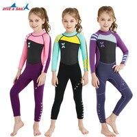 Kids One piece Long Sleeves Diving Suit 2.5MM Neoprene Warm Wetsuit Girls UV protection Swimwear Rash Guards Snorkeling Surfing