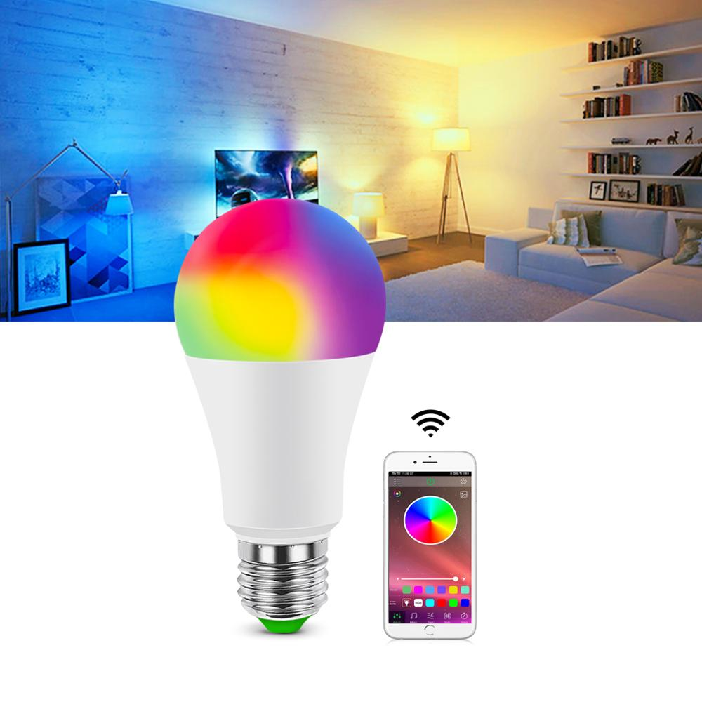 Novelty Bluetooth 4.0 Dimmable LED Bulb neon light RGB 5W-15W Wireless Magic LED lamp Music Smart Life Home Stage Lighting