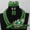 Nigerian Green Costume African Beads Jewelry Set Indian Dubai Wedding Jewelry Set Hot Sale 2017 Free shipping WD413