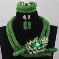 Traje Verde nigeriano Beads Africanos Conjunto de Jóias Indiano Dubai Conjunto De Jóias de Casamento Quente da Venda 2017 Frete grátis WD413