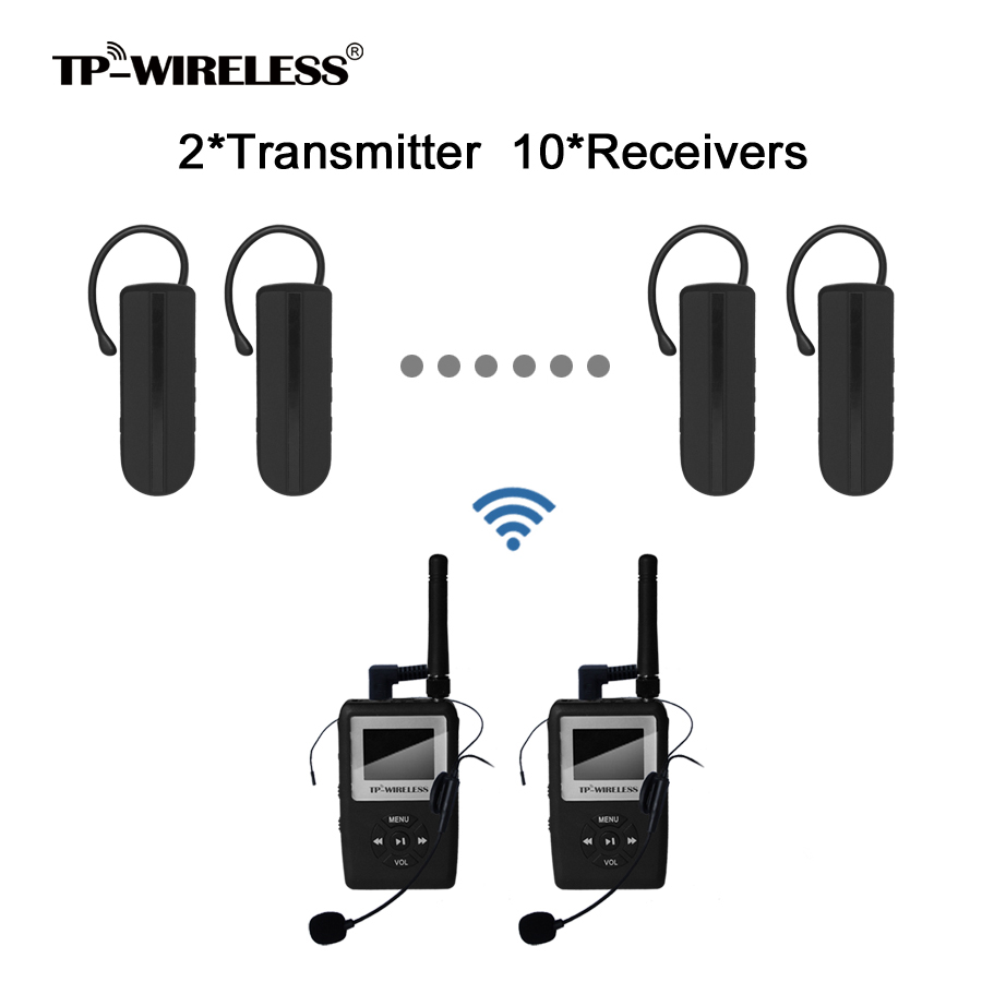 TP-WIRELESS UHF Wireless Translation system Mini Earhook Reciever 2Transmitters 10Receivers 2 receivers 60 buzzers wireless restaurant buzzer caller table call calling button waiter pager system