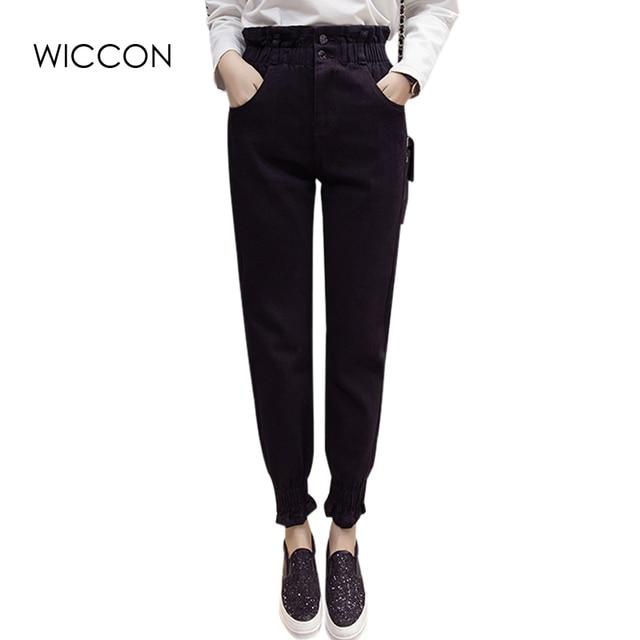 29139cca722c4 Otoño de la mujer jeans solid negro casual loose pantalones lápiz  cremallera de cintura alta de