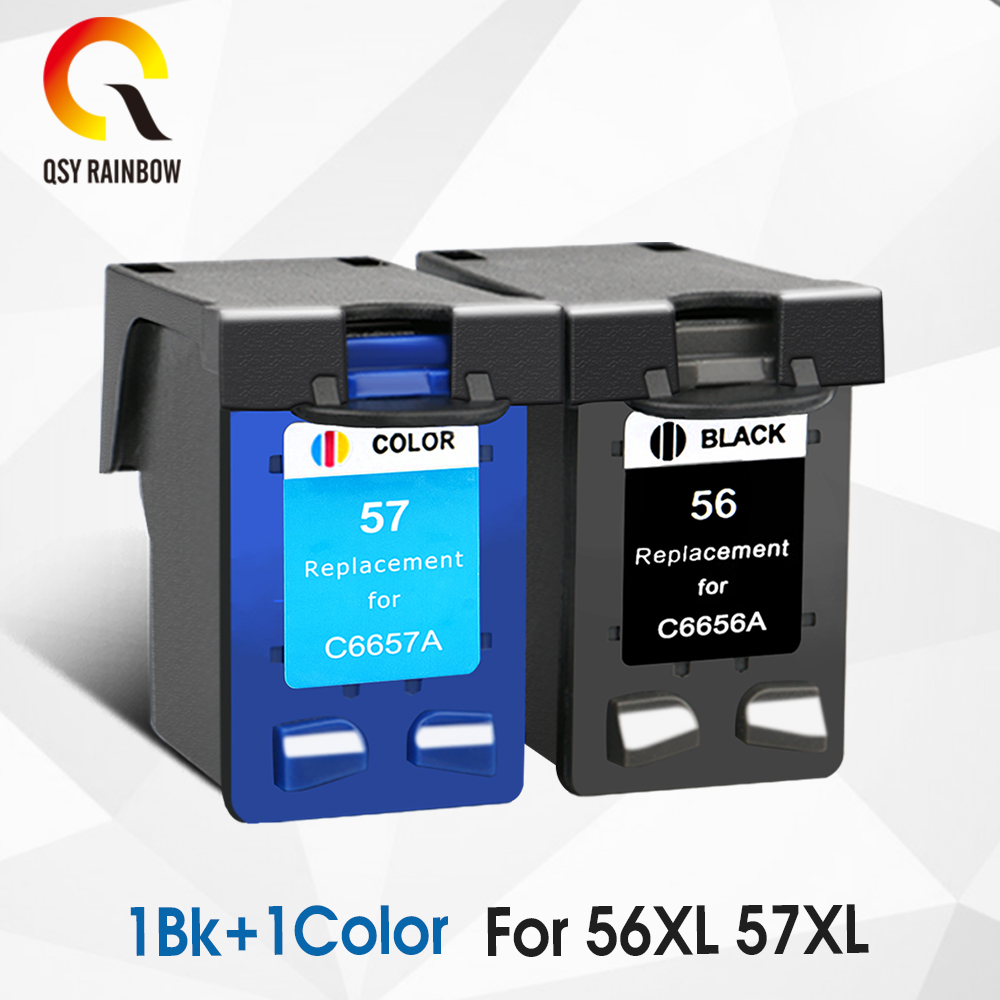 QSYRAINBOW Compatible ink <font><b>cartridge</b></font> Replacement for HP56xl 57xl 5150 450CI <font><b>5550</b></font> 5650 7760 9650 PSC 1315 1350 2110 2210 2410 image